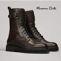 Massimo Dutti Plain Toe Lace-up Casual Style Plain Leather