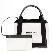 BALENCIAGA CABAS Casual Style Unisex Canvas Blended Fabrics A4 2WAY Bi-color