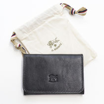 IL BISONTE Unisex Plain Leather Handmade Card Holders