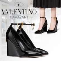 VALENTINO Chain Leather Elegant Style Wedge Pumps & Mules
