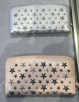Jimmy Choo Star Calfskin Studded Plain Long Wallets