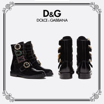 Dolce & Gabbana Plain Toe Unisex Blended Fabrics Leather Outdoor Boots