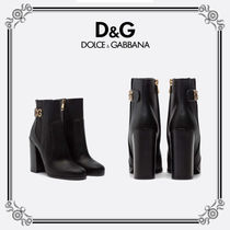 Dolce & Gabbana Plain Toe Unisex Leather Chunky Heels Outdoor Boots