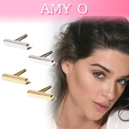 Casual Style Studded Handmade Silver 14K Gold Earrings