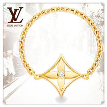 Louis Vuitton MONOGRAM Flower Chain 18K Gold Elegant Style Rings