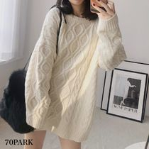 Crew Neck Cable Knit Casual Style Long Sleeves Plain