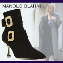 Manolo Blahnik Suede Blended Fabrics Plain Leather Elegant Style