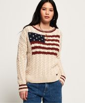 Superdry Cable Knit Short Casual Style Wool Street Style Boat Neck