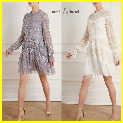 Short Flower Patterns Long Sleeves Party Style Dresses