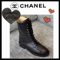 CHANEL SPORTS Lace-up Casual Style Plain Lace-up Boots