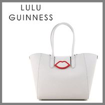 Lulu Guinness Stripes Casual Style Plain PVC Clothing Elegant Style Totes