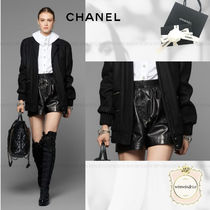 CHANEL Plain Leather Elegant Style Leather & Faux Leather Shorts