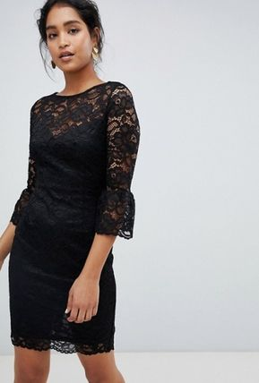 Flower Patterns Cropped Medium Lace Elegant Style Dresses