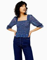 TOPSHOP Flower Patterns Cropped Shirts & Blouses