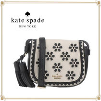 kate spade new york Flower Patterns Bi-color Leather Elegant Style Shoulder Bags