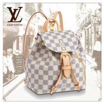 Louis Vuitton DAMIER AZUR Casual Style Canvas Blended Fabrics Leather Backpacks