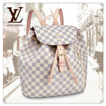 Louis Vuitton DAMIER AZUR Casual Style Canvas Blended Fabrics Leather Elegant Style