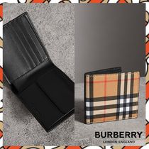 Burberry Other Check Patterns Unisex Folding Wallets