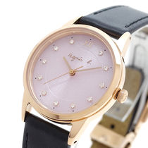 Agnes b Casual Style Leather Round Party Style Quartz Watches