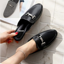 Round Toe Casual Style Faux Fur Plain Loafer Pumps & Mules