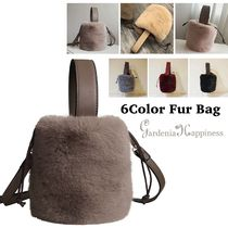 Casual Style Faux Fur 2WAY Plain Party Style Purses
