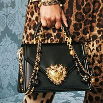 Dolce & Gabbana Heart Calfskin Chain Plain Party Style Office Style