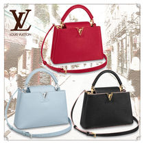 Louis Vuitton CAPUCINES Casual Style Unisex 2WAY Plain Leather Office Style
