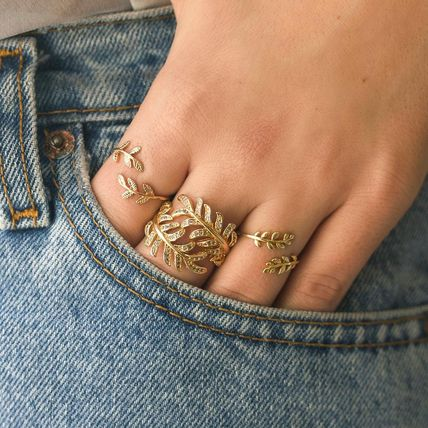 Casual Style Silver 14K Gold Rings
