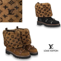 Louis Vuitton Monogram Platform Plain Toe Casual Style Fur Blended Fabrics