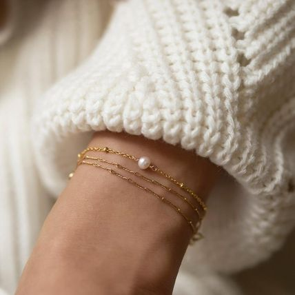 Casual Style Chain Silver 14K Gold Bracelets