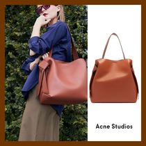 Acne Casual Style A4 Plain Leather Office Style Totes