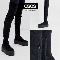 ASOS Platform Round Toe Casual Style Suede Plain Chunky Heels