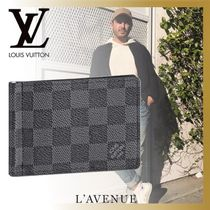 Louis Vuitton DAMIER GRAPHITE Other Check Patterns Blended Fabrics Leather Folding Wallets