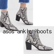ASOS Casual Style Faux Fur Other Animal Patterns Block Heels