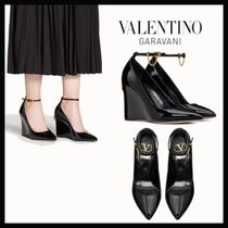 VALENTINO Chain Plain Leather Elegant Style Wedge Pumps & Mules