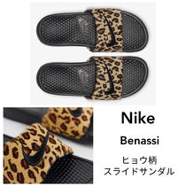 Nike BENASSI Leopard Patterns Open Toe Casual Style Leather