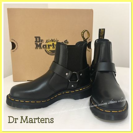 Dr Martens WINCOX 2018 19AW Round Toe Casual Style Plain Leather Chelsea Boots