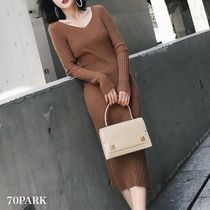 Casual Style Tight V-Neck Long Sleeves Plain Medium Dresses