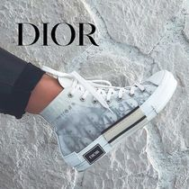 DIOR HOMME Monogram Street Style Leather Sneakers