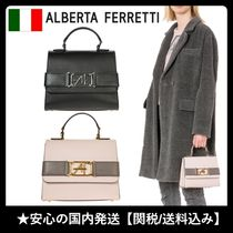 ALBERTA FERRETTI 2WAY Plain Elegant Style Handbags