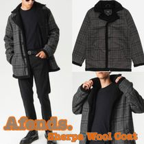 AFENDS Short Other Check Patterns Wool Street Style Coats