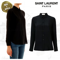 Saint Laurent Casual Style Silk Long Sleeves Plain Shirts & Blouses