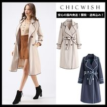 Chicwish Casual Style Bi-color Long Office Style Trench Coats