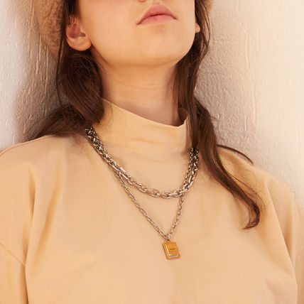 Unisex Street Style Chain Stainless Logo Necklaces & Chokers