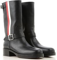 Christian Dior Stripes Round Toe Leather Ankle & Booties Boots
