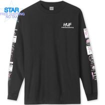HUF Crew Neck Pullovers Unisex Long Sleeves Plain Cotton