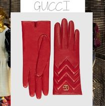 GUCCI GG Marmont Cashmere Leather Leather & Faux Leather Gloves