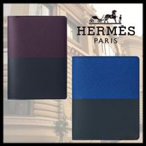 HERMES Calfskin Blended Fabrics Bi-color Leather Folding Wallets
