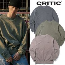 CRITIC Street Style Long Sleeves Plain Cotton Sweatshirts