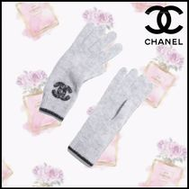 CHANEL Cashmere Silk Blended Fabrics Plain Gloves Gloves